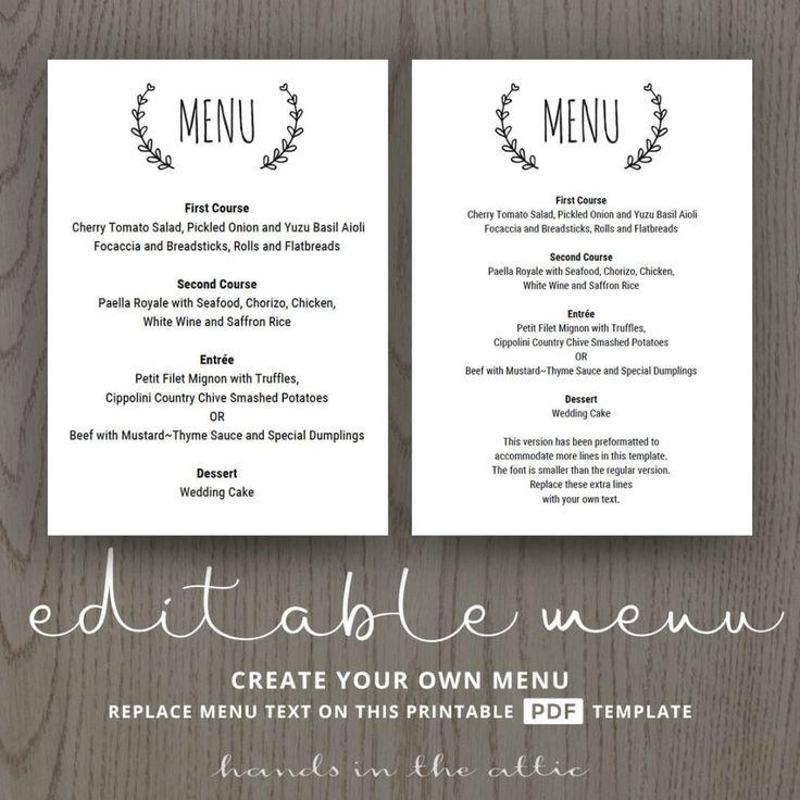 85 best wedding menu cards images on pinterest menu templates wedding menu cards and wedding. Black Bedroom Furniture Sets. Home Design Ideas