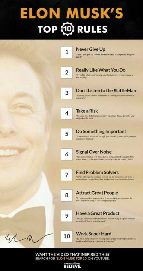 Elon Musk's Top 10 Rules of Success