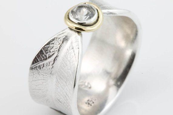 Stone instellen Bodhi blad Ring trouwring door stonesthrowjewelry