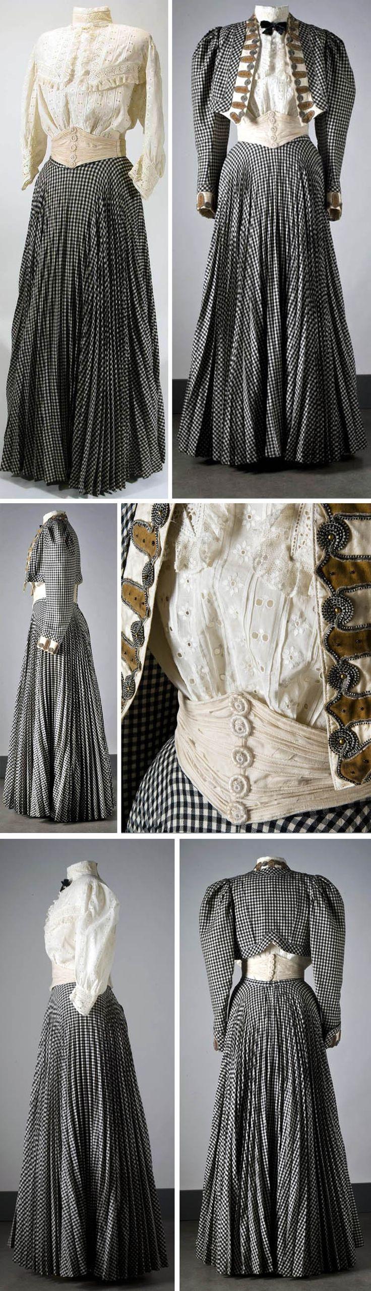 Walking costume, 1906. Jacket, skirt, blouse, cummerbund. Wool and cotton. Photos: Mats Landin. Nordic Museum, Sweden