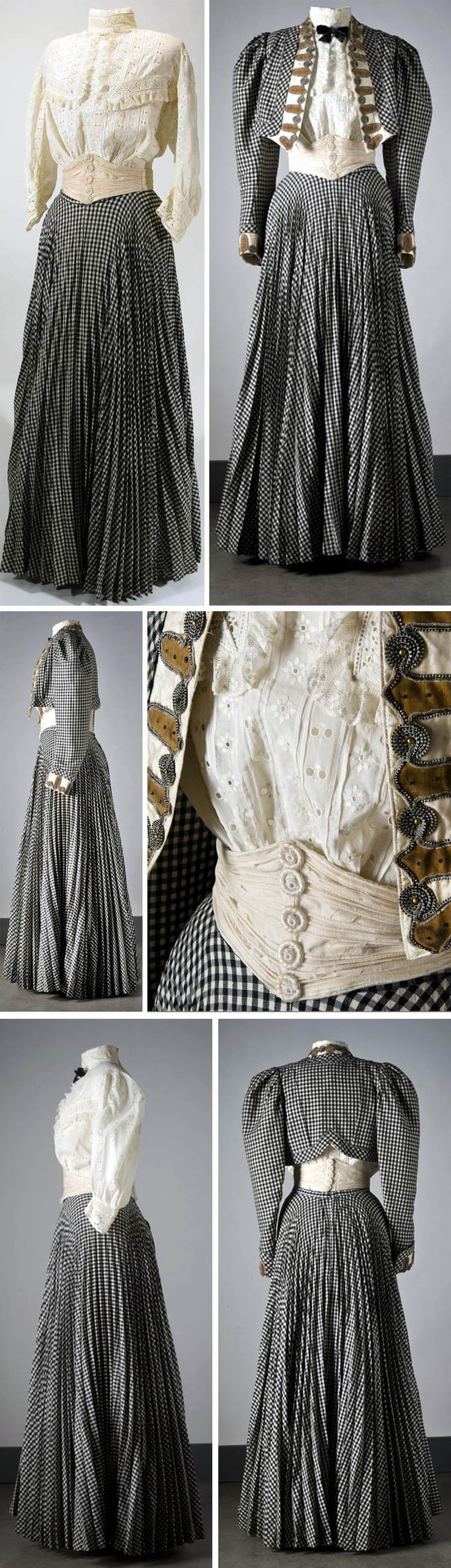 1906 Walking ensemble: Jacket, skirt, blouse, and cummerbund. Wool and cotton. Photos: Mats Landin. Via Nordic Museum, Sweden.