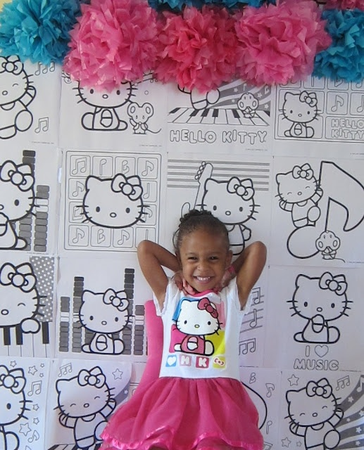 Hello Kitty Party - buy a coloring book & post each page on the wall! Supply markers for the kids to free color :)