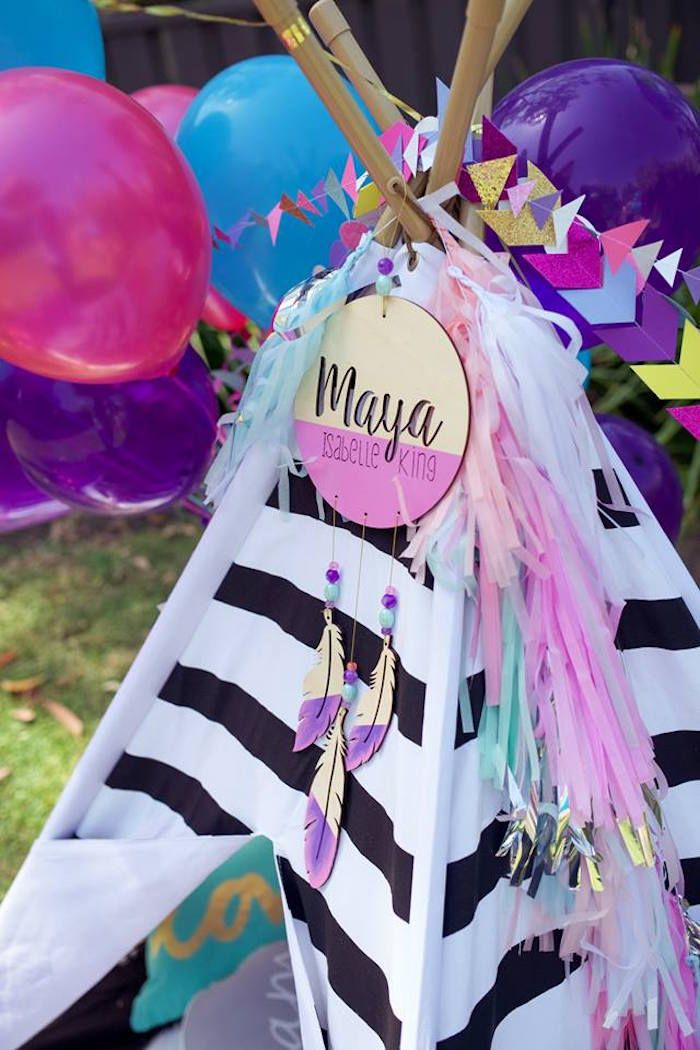 Garland/Bunting from a Boho Teepee 1st Birthday Party via Kara's Party Ideas | KarasPartyIdeas.com (37)
