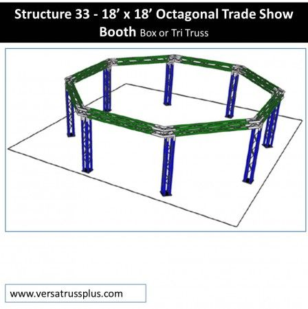 18 x 18 octagonal trade show booth kits. Our 18 x 18 octagonal exhibit kit comes with all of the truss components and hardware to erect a complete 18 x 18 octagonal display booth. Our lightweight aluminum truss 18 x 18 octagonal booth kit is economical to purchase, designed for longevity and is completely modular in design allowing you to increase the size of your 18 x 18 octagonal exhibit kit at any time.
