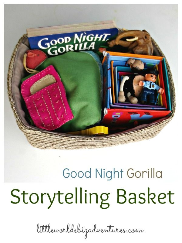 Good Night Gorilla Story Basket | Creative storytelling for toddlers and preschoolers through small world play. | Little Worlds Big Adventures