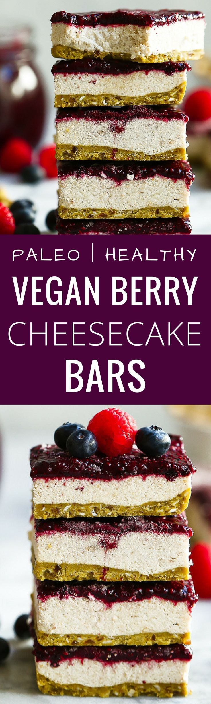 Paleo Vegan Berry Cheesecake Bars. These cheesecake bars are easy to make, taste delicious and are gluten free, grain free, dairy free and sugar free! Low carb cheesecake bars. No bake cheesecake bars.