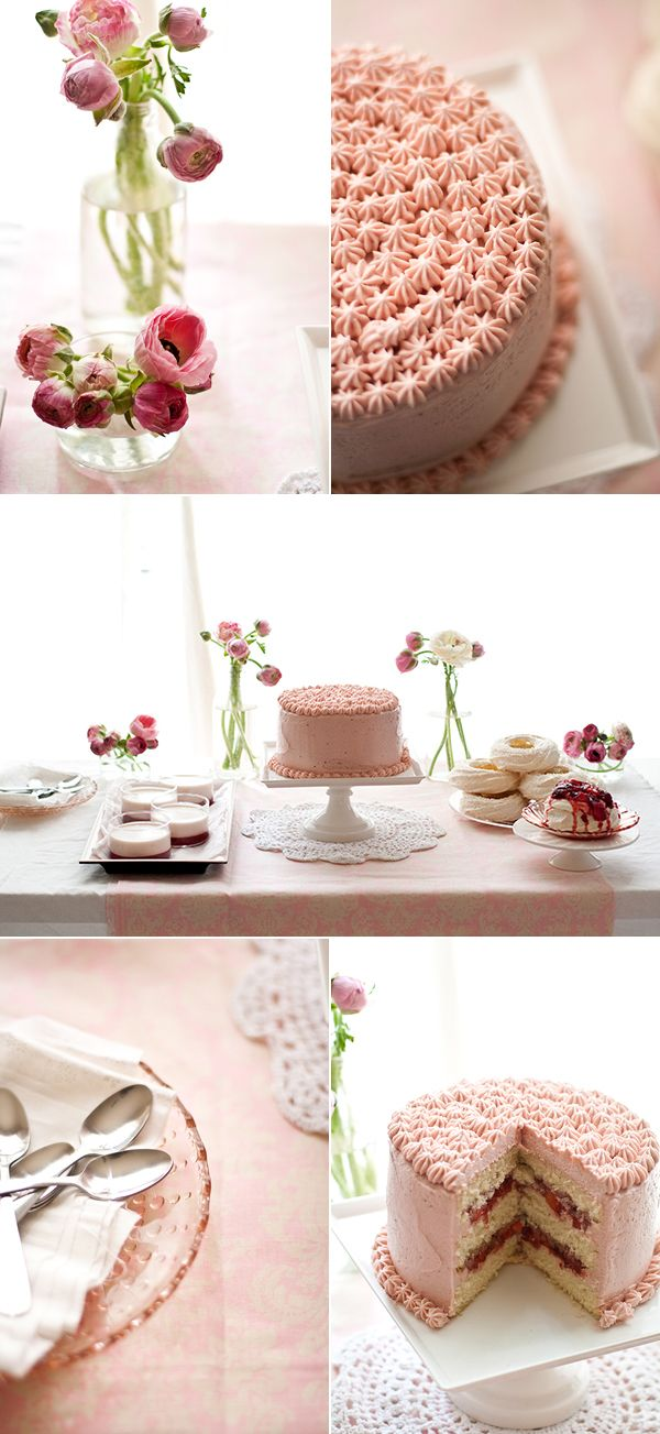 Lovely pink table scape. Valentine's Day: Pink Cakes, White Desserts, Cream Cakes, Sweet Desert, Beautiful Cakes, Parties Cakes, Desserts Tables, Pink Parties, Sweet Cakes