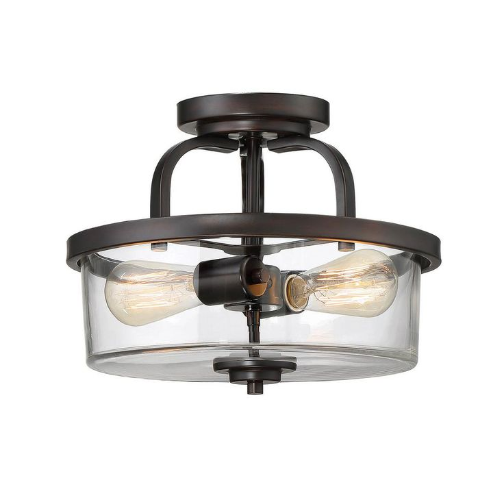 Style Of Filament Design 2 Light English Bronze Semi Flushmount Contemporary - Luxury 2 light pendant fixture New Design