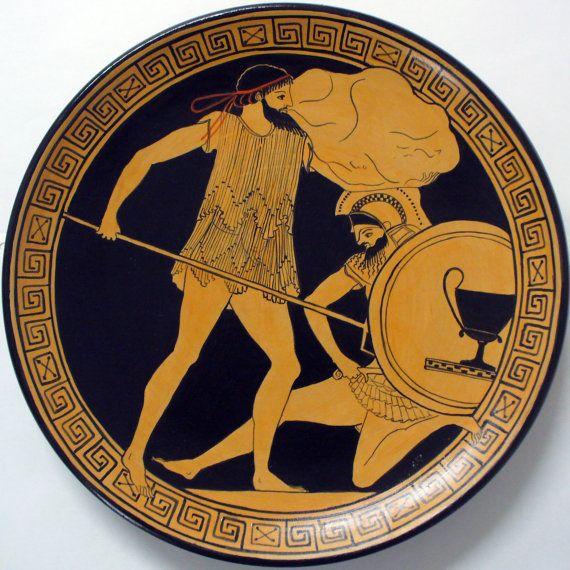 Piatto ornamentale. Mitologia greca. Dipinto a mano.