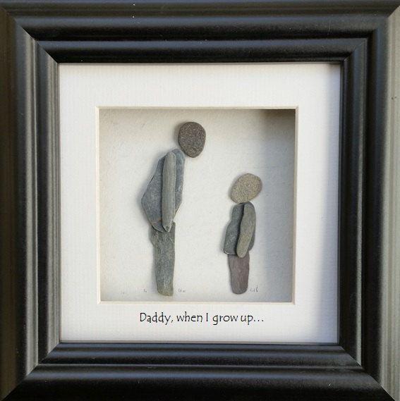 Father's Day Pebble Art Picture von CornishPebbleArt auf Etsy