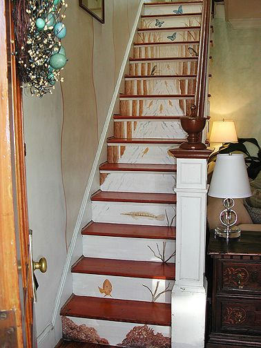 Decorating Stair Risers | Stairs Risers After Casart Woodland Stream Stair  Mural
