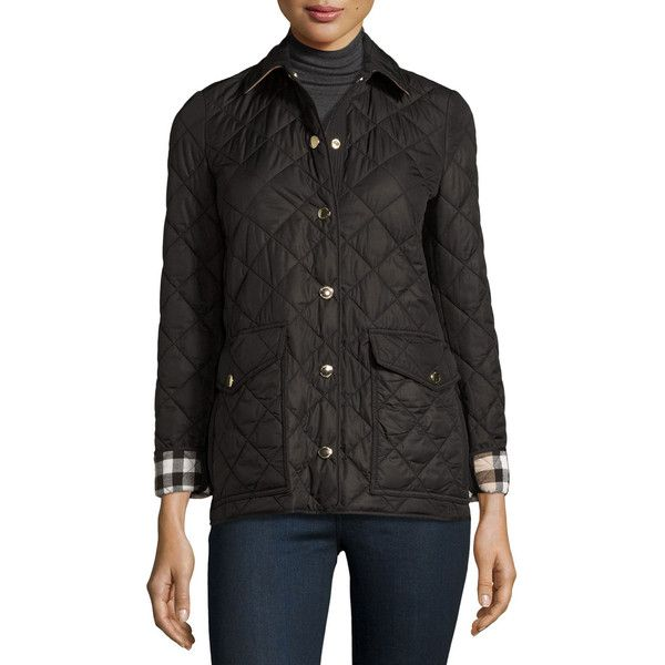 Burberry Westbridge Quilted Jacket (€655) found on Polyvore featuring women's fashion, outerwear, jackets, black, slim fit jackets, slim jacket, snap front jacket, burberry and burberry jacket