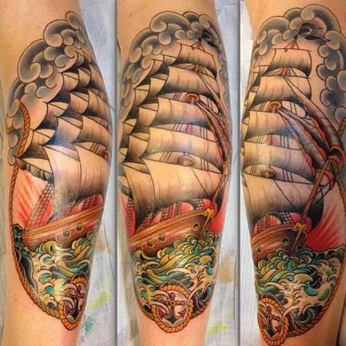 Pirate Ship tattoo,gorgeous