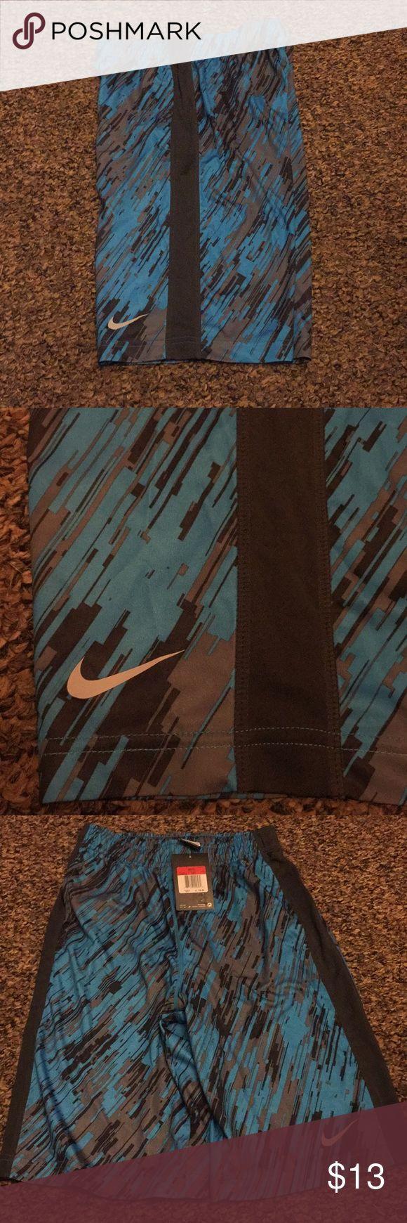 Youth boys Nike shorts , never worn Grey/ black / turquoise knee length Nike Bottoms Shorts