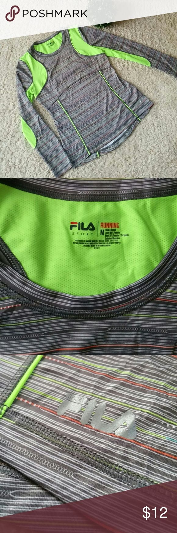 """Fila Sport workout top womens Long sleeve FILA SPORT RUNNING top. In new condition. Jersey 100% polyester Mesh 89% polyester 11% spandex Armpit to armpit laying flat 18.5"""" Length 26.5"""" Fila Tops Tees - Long Sleeve"""