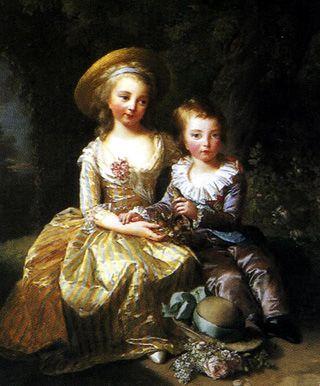 « Madame Royale »,Marie-Thérèse de France et son frère le Dauphin Louis Joseph Xavier François (Élisabeth Vigée-Le Brun) Les enfants de Marie-Antoinette et Louis XVI  — Wikipédia