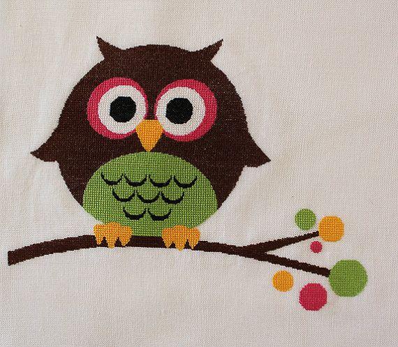 Owl modern cross stitch pattern pdf