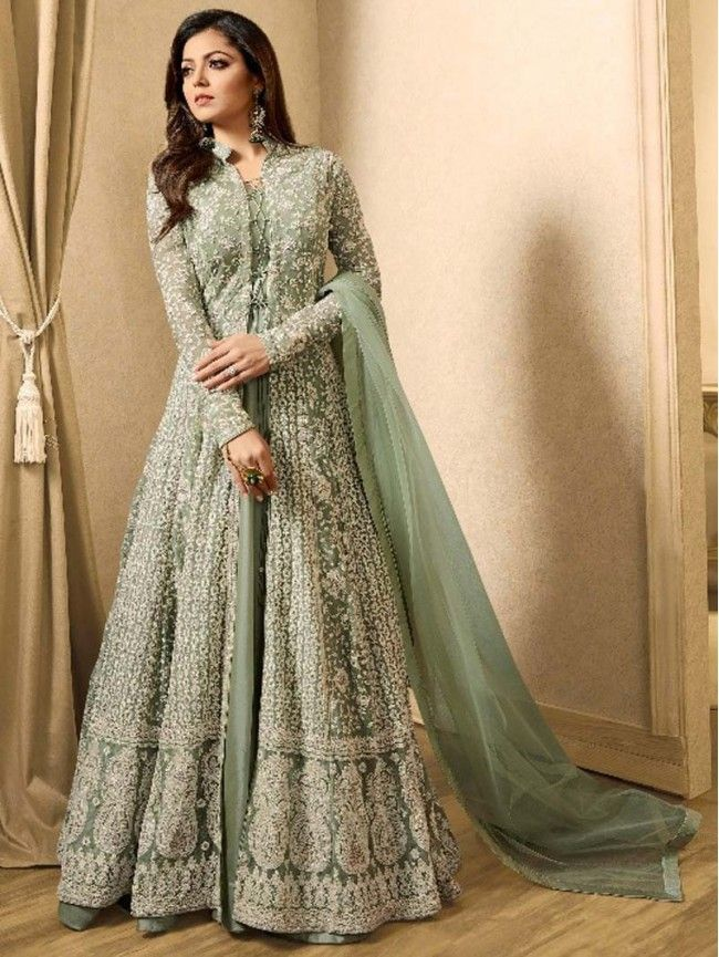 Olive Green Color Latest Pakistani Long Wedding Eid Special Anarkali Indian Gowns Dresses Abaya Fashion Dresses