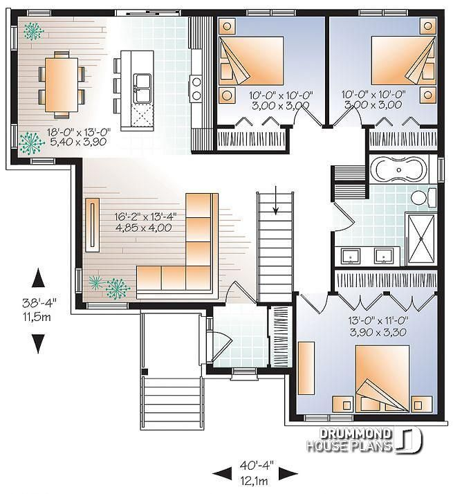 Discover The Plan 3133 V3 Mainville 3 Which Will Please You For Its 3 Bedrooms And For Its Contemporary Styles Open Floor House Plans Modern House Plans House Plans