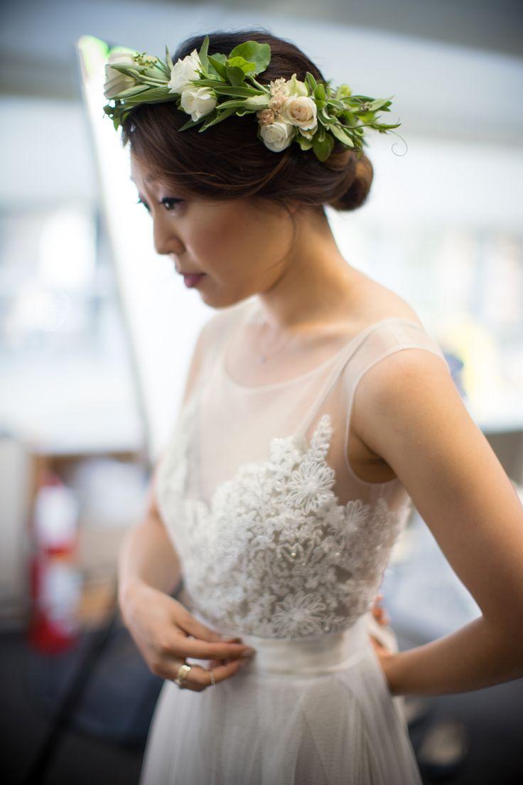 Bridal floral crown headpiece. halos of sage, jasmine vine, spray roses, lisianthus. perfect whimsical romantic garden wedding bridal hair. florals by @designsbyahn