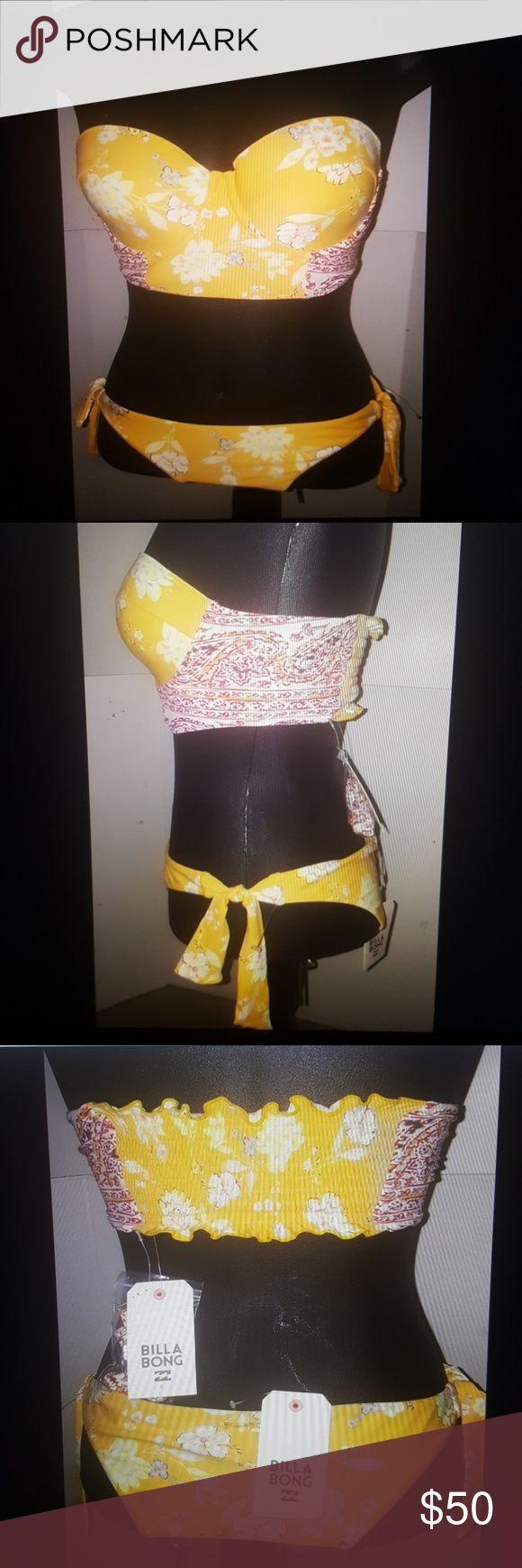 BillaBong bikini yellow large new BillaBong 2 piece bikini yellow floral pattern skimpy bottoms tie side halter top  large new Billabong Swim Bikinis