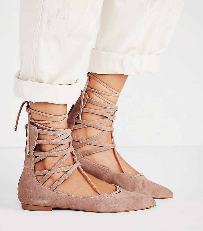 Jeffrey Campbell Shay Lace-Up Flats in nude
