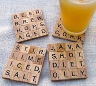 Scrabble Coasters.  Collect together any old scrabble pieces and arrange in a square (4x4) to form words. Glue gun together and varnish for a clean finish.  To complete wrap in tissue paper or even create a box to hold the coasters.