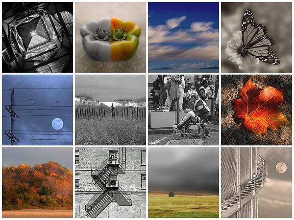 Collage, architecture, abstract, butterfly, powerline, moon, sea, london marathon, black & white, sepia, autumn, autumn leaf, fall colors, fire escapes, prairie, grain storage, lunar, moon, agri moon.