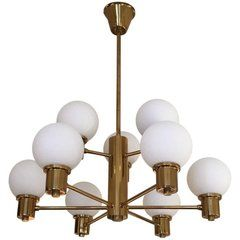 Midcentury Brass and Glass Globes Chandelier