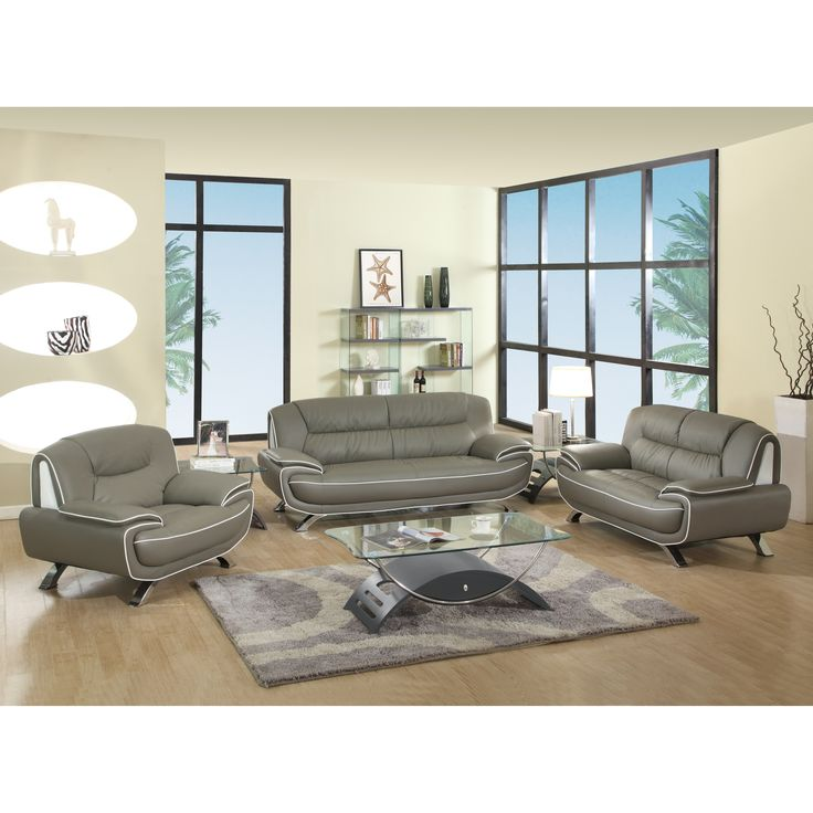 Global United Industries Olympia Luxury Leather/Match Upholstered 3-Piece Living Room Sofa Set (Grey)