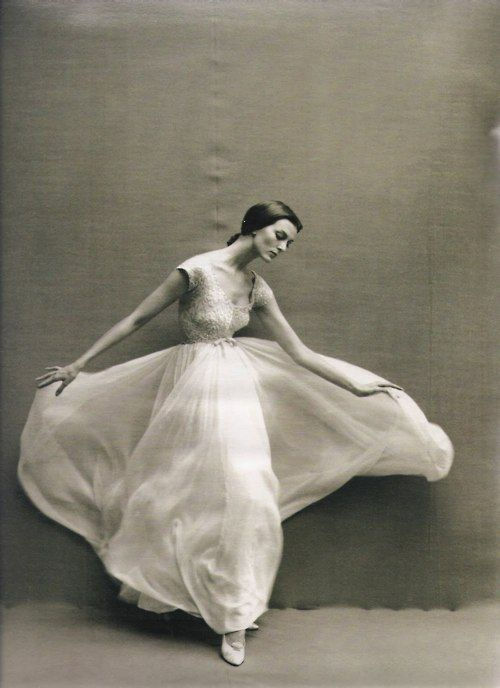 movement. one of those things. Model wearing a gown by Jacques Griffe, 1957. Photo by Richard Avedon.