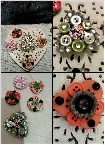 Vintage button brooches. ..♡♡♡