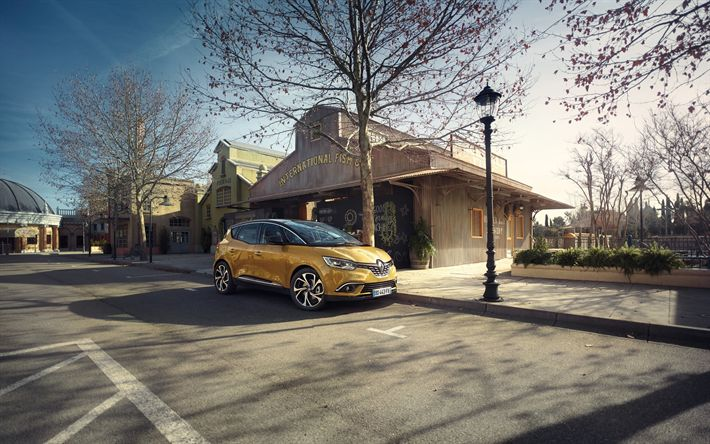 Download wallpapers Renault Scenic, 2018, hatchback, new gold Scenic, French cars, USA, Renault
