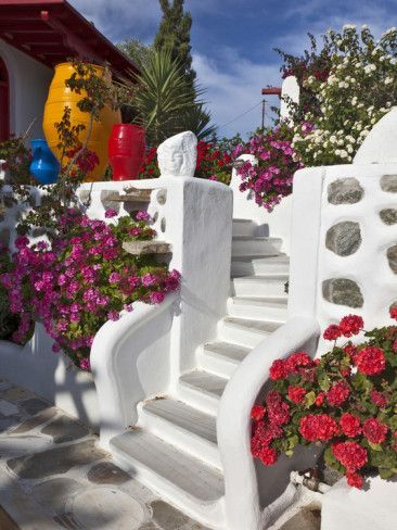 Greece Travel Inspiration - Stairs and Flowers, Chora, Mykonos, Greece