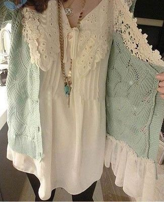 sweater type coat with lace