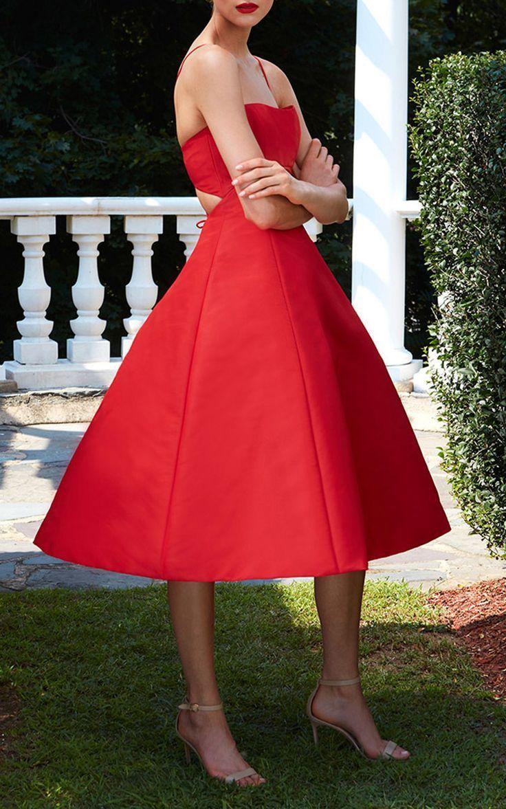 Elizabeth Kennedy Tie Up Detail Tea Length Cocktail Dress