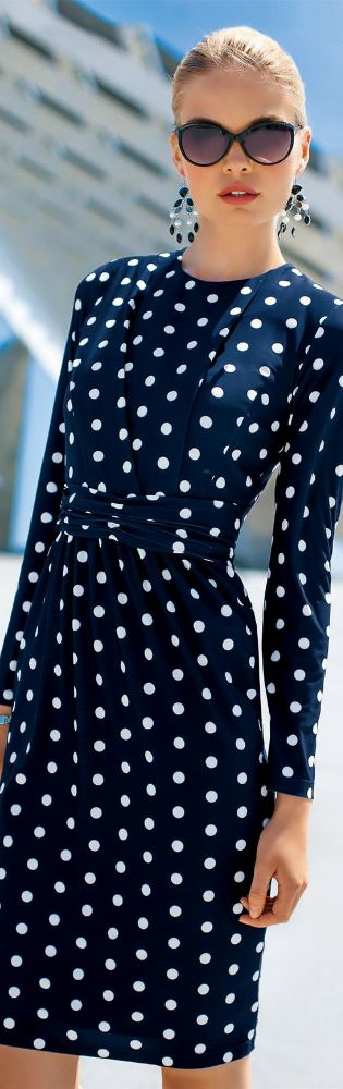 Polka dots, navy dress