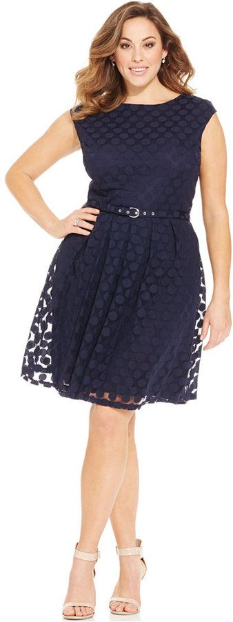 So cute!  Plus Size Dot-Print Belted Dress