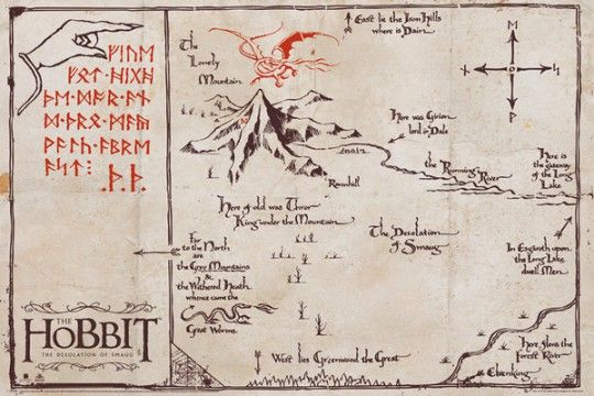 The Hobbit Pustkowie Smauga Mountain Map - plakat