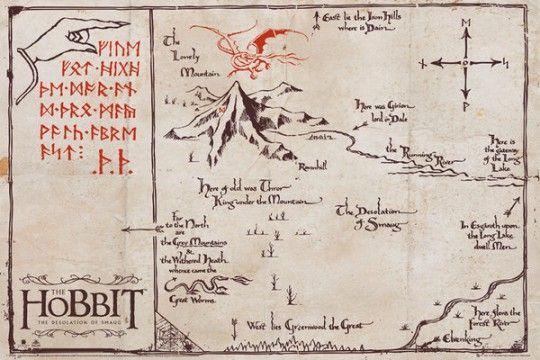 The Hobbit Pustkowie Smauga Mountain Map - plakat