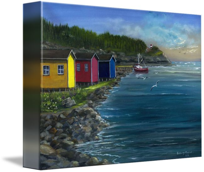 "Acrylic painting - Twilight & fishing shacks in Trout River, NL (Gros Morne National Park)  ""Fishing+Shacks+in+Trout+River+Gros+Morne+NL""+by+Kimberly+Ropson,++//+Fishing+shacks+in+Trout+River,+Gros+Morne+National+Park,+Newfoundland+Labrador+//+Imagekind.com+--+Buy+stunning+fine+art+prints,+framed+prints+and+canvas+prints+directly+from+independent+working+artists+and+photographers."