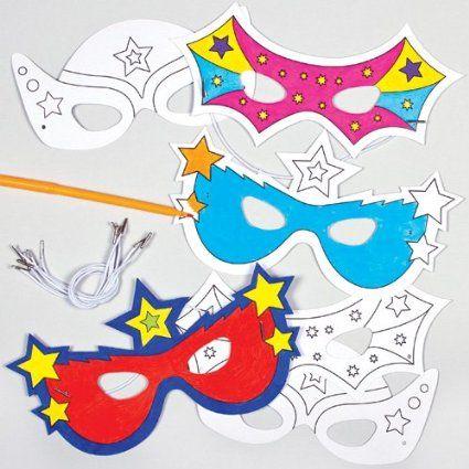 Lot de 6 Masques Super-Héros à colorier - Idéal pour le carnaval…