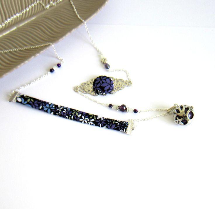 Bola de grossesse bohème chic argenté et violet foncé, cadeau femme enceinte, coton fleuri, cage arbre,agate : Collier par color-life-bijoux