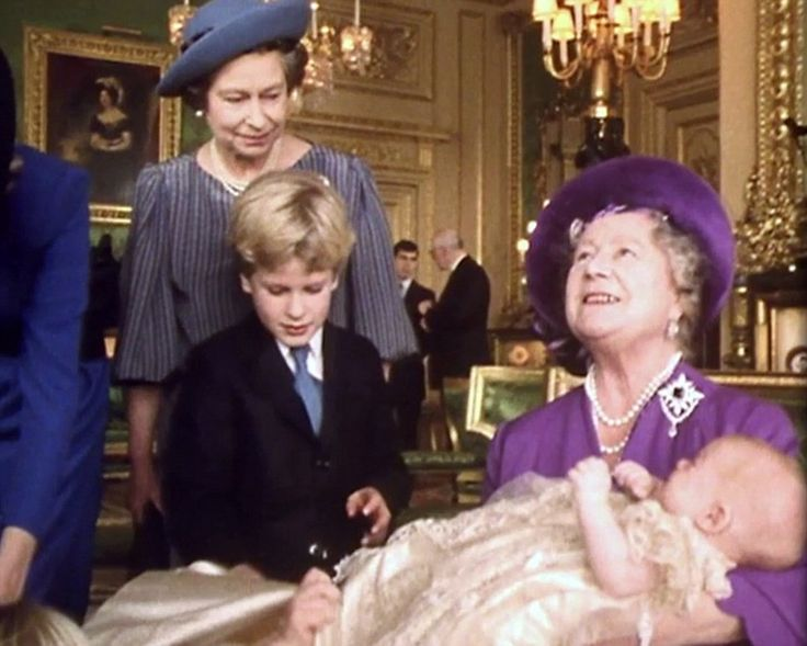 Prince Harry's christening at Windsor Castle in 1984 ~ (L-R) Queen Elizabeth, Peter Phillips, The Queen Mother and Prince Harry.