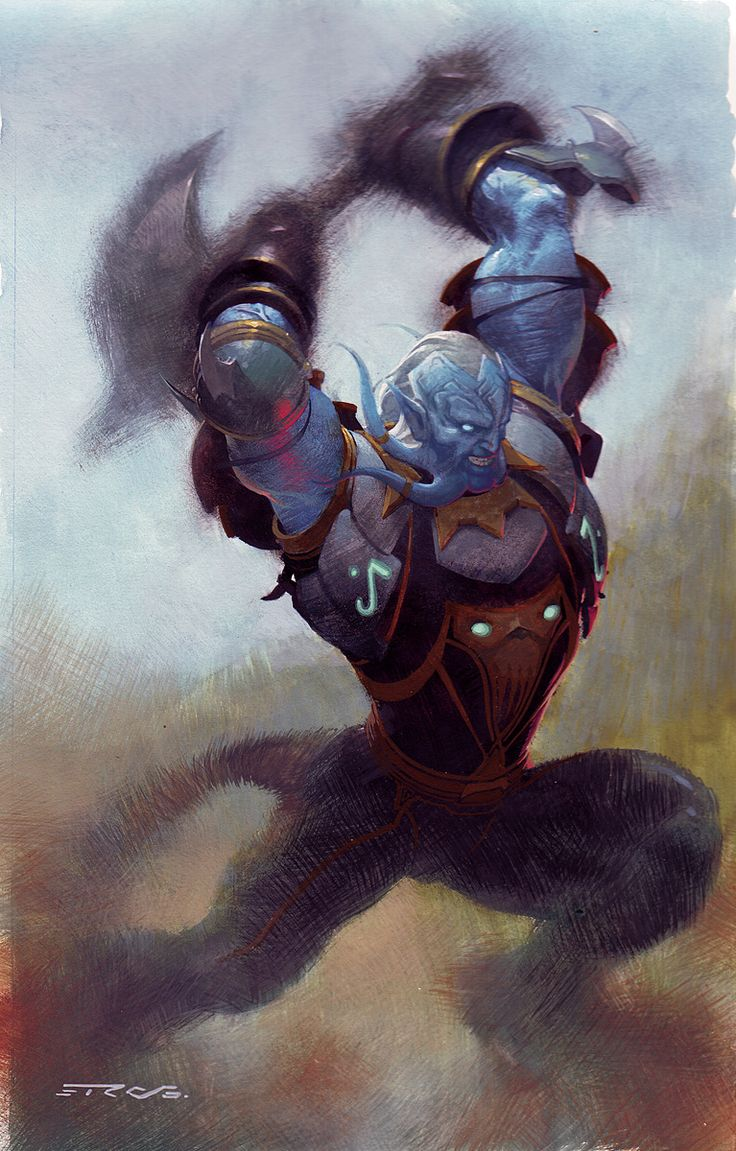 Watercolor books for sale - Anthony S Comic Book Art For Sale Artwork Blue Troll W Axe Painted Card Artby Artist Esad Ribic
