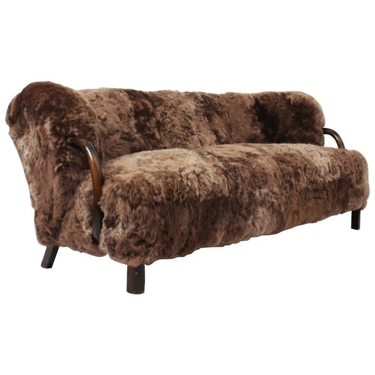 Three-Seat Sofa in Brown Icelandic Sheepskin by Viggo Boesen, Denmark | From a unique collection of antique and modern sofas at https://www.1stdibs.com/furniture/seating/sofas/