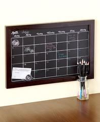 Magnetic Chalkboard Calendar Colored Chalk Pencils Organizer Planner Wood Frame - Dark Wood