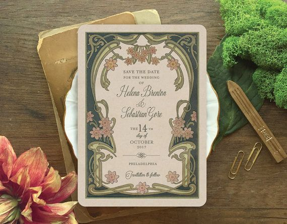 Save the Date Invitations Save the Dates Art Nouveau by GoGoSnap