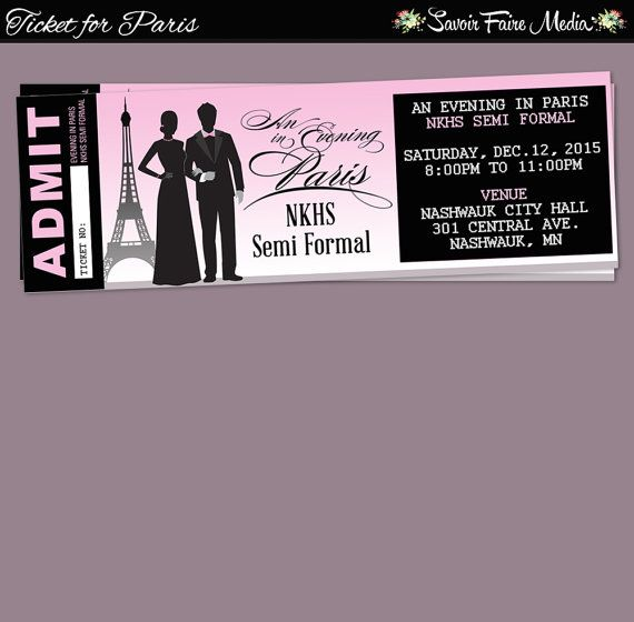 paris themed event ticket    customizable prom dance homecoming school community flyer invitation