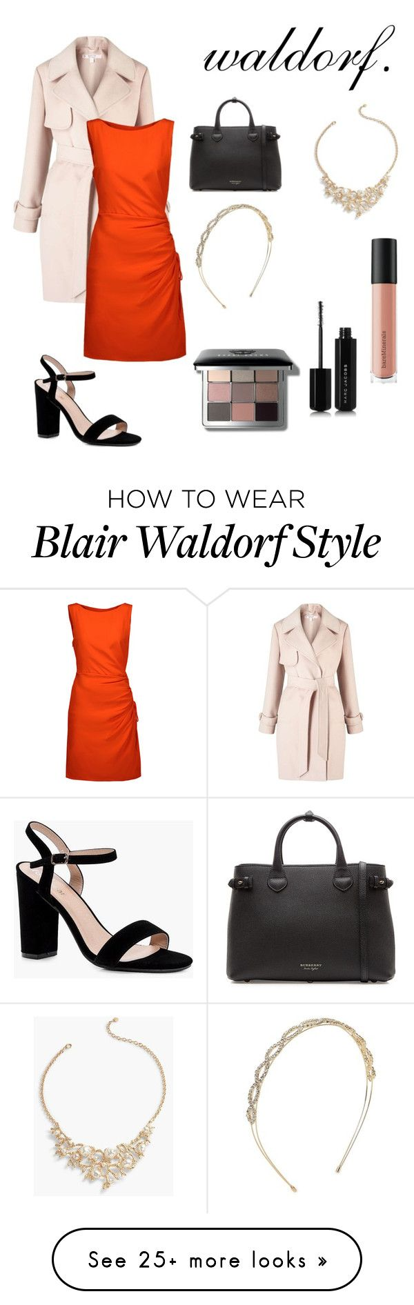 """""""blair waldorf // red"""" by mcnaknak on Polyvore featuring Miss Selfridge, Moschino, Boohoo, Burberry, Talbots, Bare Escentuals, Cara, Bobbi Brown Cosmetics, Marc Jacobs and modern"""
